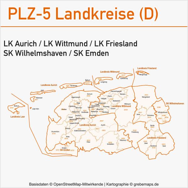 Postleitzahlen-Karten PLZ-5 Vektor Landkreise Deutschland Landkreis Aurich Landkreis Wittmund Landkreis Friesland Stadtkreis Wilhelmshaven Stadtkreis Emden