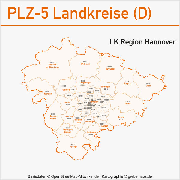 Postleitzahlen-Karten PLZ-5 Vektor Landkreise Deutschland Landkreis Region Hannover Landkreis Hannover Region