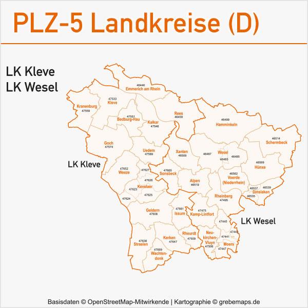Postleitzahlen-Karten PLZ-5 Vektor Landkreise Deutschland Landkreis Kleve Landkreis Wesel