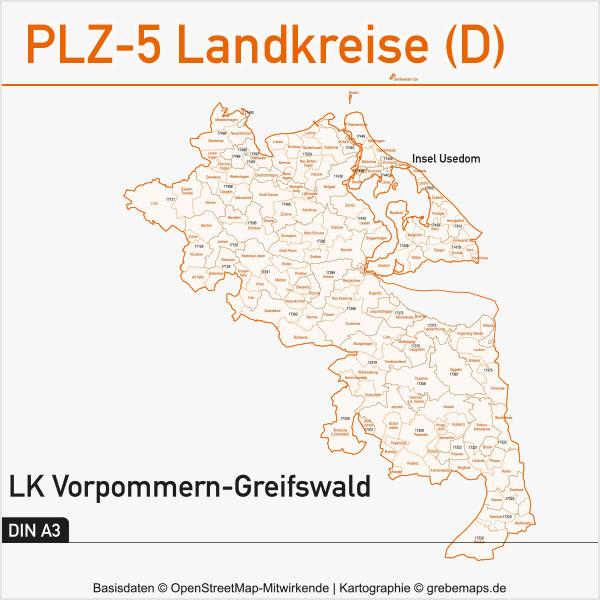 Postleitzahlen-Karten PLZ-5 Vektor Landkreise Deutschland Landkreis Vorpommern-Greifswald