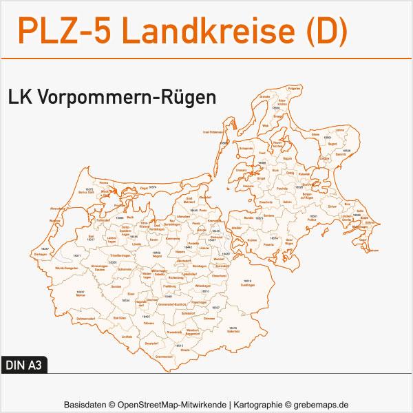 Landkreis Vorpommern-Rügen Postleitzahlen-Karte PLZ-5 Gemeinden Vektor, Postleitzahlen-Karten PLZ-5 Vektor Landkreise Deutschland Landkreis Vorpommern-Rügen