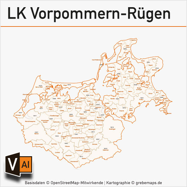 Landkreis Vorpommern-Rügen Postleitzahlen-Karte PLZ-5 Gemeinden Vektor