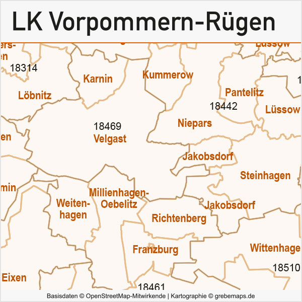 Landkreis Vorpommern-Rügen Postleitzahlen-Karte PLZ-5 Gemeinden Vektor, Karte Vorpommern-Rügen, PLZ-Karte Vorpommern-Rügen, Karte Gemeindegrenzen Vorpommern-Rügen, Vektorkarte Vorpommern-Rügen