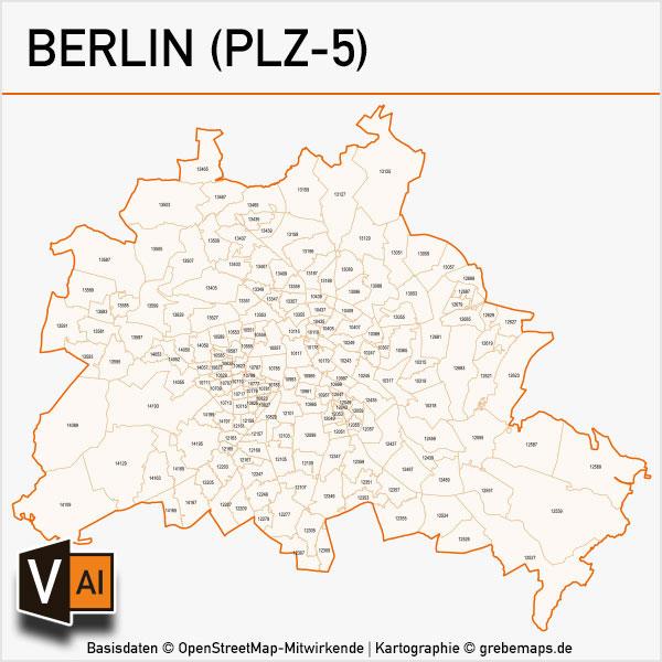 berlin postleitzahlen karte plz 5 vektor grebemaps kartographie. Black Bedroom Furniture Sets. Home Design Ideas