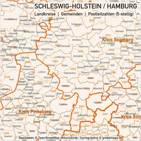 Schleswig-Holstein / Hamburg Vektorkarte Landkreise Gemeinden PLZ-5