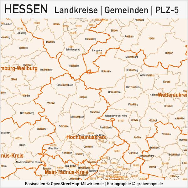 Hessen Vektorkarte Landkreise Gemeinden PLZ-5