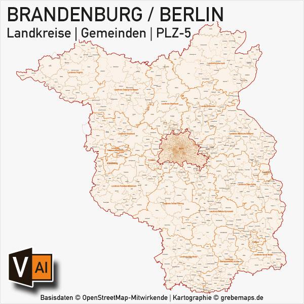 brandenburg berlin vektorkarte landkreise gemeinden plz 5 grebemaps. Black Bedroom Furniture Sets. Home Design Ideas