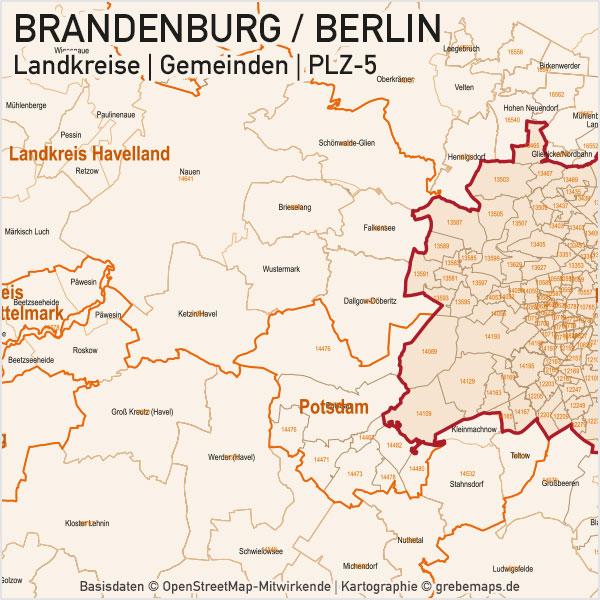 Brandenburg - Berlin Vektorkarte Landkreise Gemeinden PLZ-5