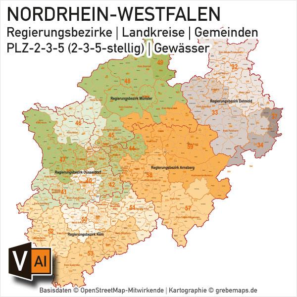 Nordrhein-Westfalen NRW Vektorkarte Landkreise Gemeinden PLZ-2-3-5 Postleitzahlen