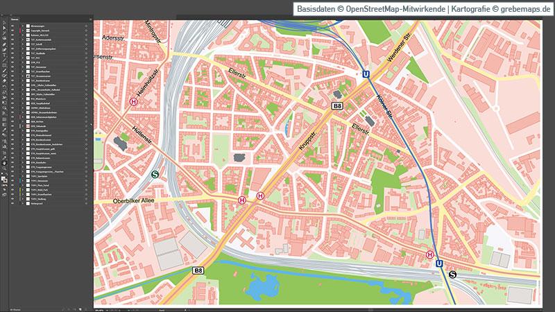Düsseldorf-Innenstadt Stadtplan Vektorkarte, Karte Düsseldorf-Stadtmitte mit Altstadt, Karte Düsseldorf Innenstadt Vektor, Vektorgrafik, Kartengrafik, Düsseldorf-Innenstadt, Düsseldorf-Stadtmitte, Düsseldorf-Altstadt