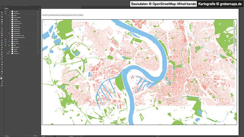 Düsseldorf-Mitte Übersichtskarte Vektorkarte, Karte Düsseldorf Übersicht, Vektorkarte Düsseldorf Übersicht, Düsseldorf Karte Vektor Übersicht