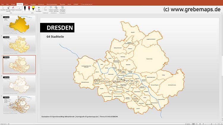 Dresden PowerPoint-Karte Postleitzahlen PLZ-5 Stadtteile Stadtbezirke, Karte PowerPoint Dresden Stadtbezirke, Stadtteile, Postleitzahlen 5-stellig