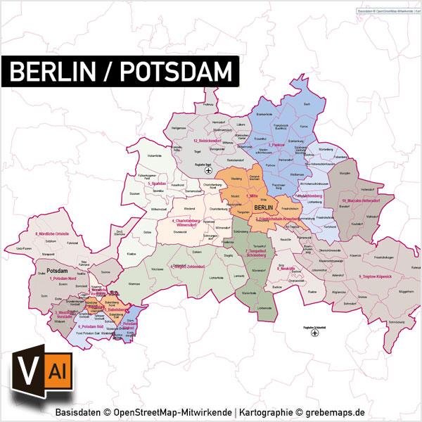 Berlin Potsdam Vektorkarte Stadtbezirke Stadtteile Topographie