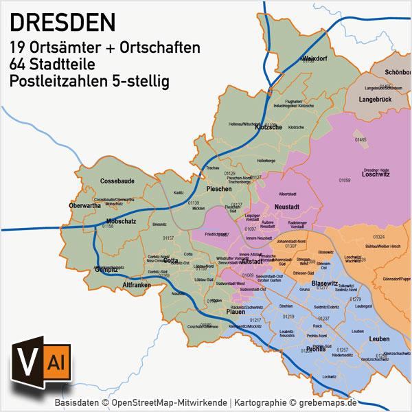 stadtbezirke dresden karte Dresden Vektorkarte Stadtbezirke Stadtteile Postleitzahlen PLZ 5