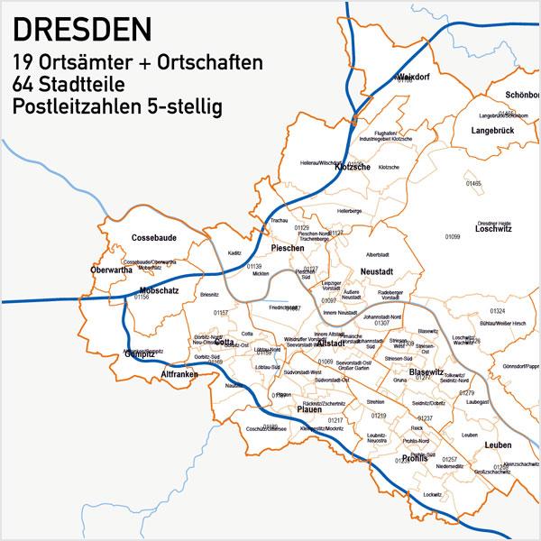 Dresden Vektorkarte Stadtbezirke Stadtteile Postleitzahlen PLZ-5