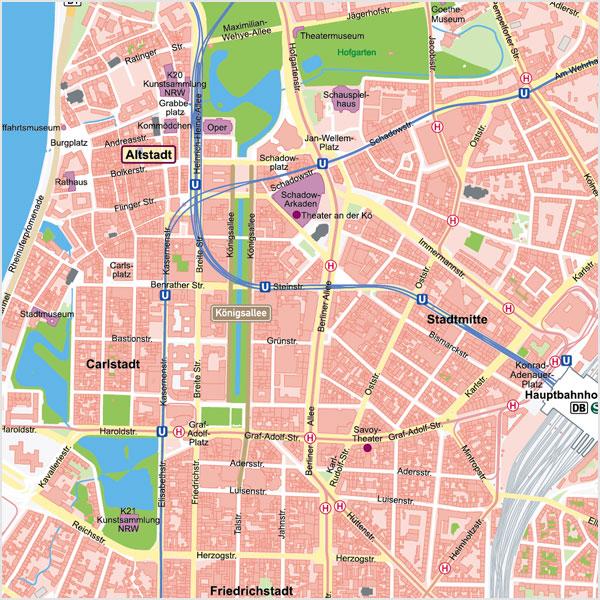 Düsseldorf-Innenstadt Stadtplan Vektorkarte