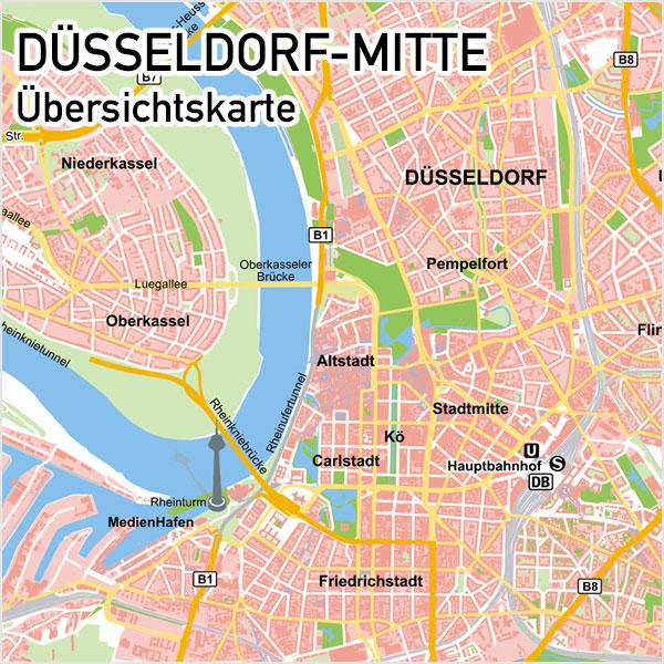 karte düsseldorf innenstadt Düsseldorf Mitte Übersichtskarte Vektorkarte Basiskarte
