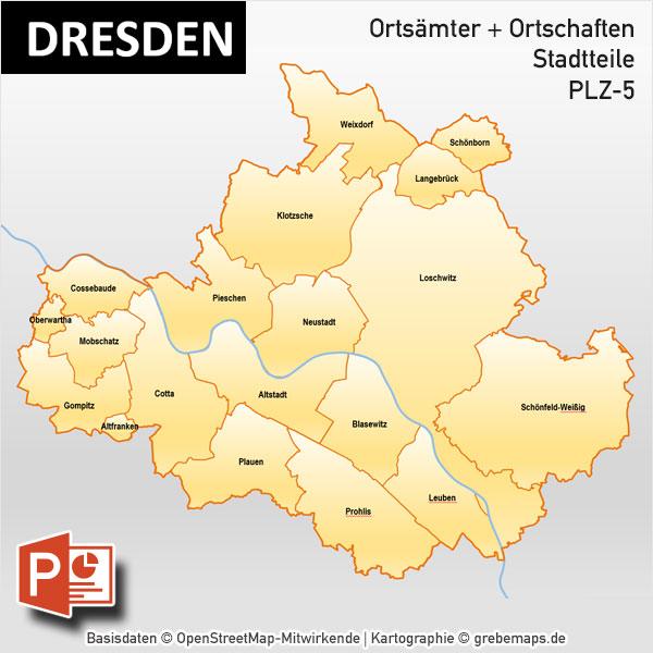 stadtbezirke dresden karte Dresden PowerPoint Karte Postleitzahlen PLZ 5 Stadtteile Stadtbezirke