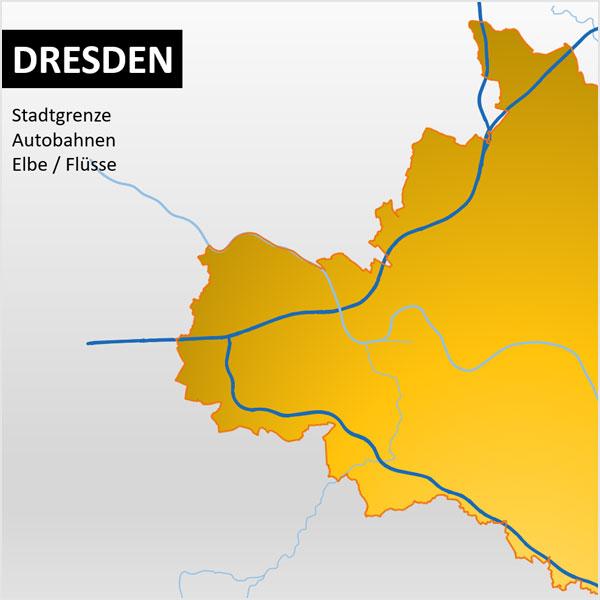 Dresden PowerPoint-Karte Postleitzahlen PLZ-5 Stadtteile Stadtbezirke