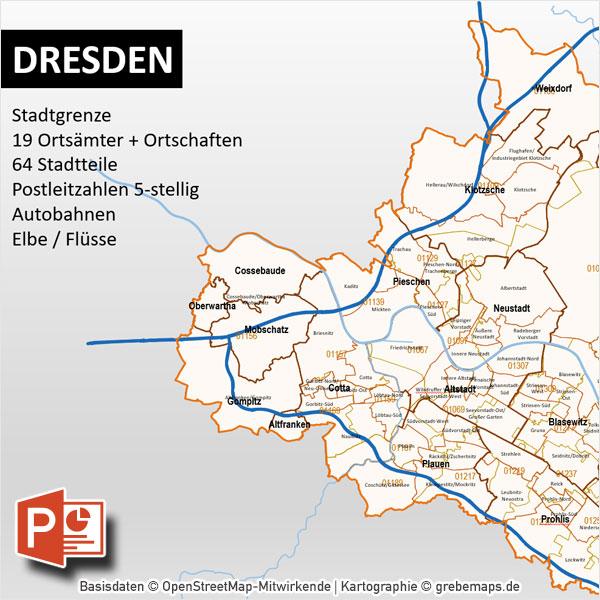 PowerPoint-Karte Dresden Postleitzahlen PLZ-5 Stadtteile Stadtbezirke