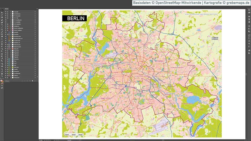 Berlin Karte Vektor Übersicht Mit Gebäuden Stadtteilen Topographie, Karte Berlin Vektor, Vektorkarte Berlin, Berlin Übersichtskarte Vektor Mit Gebäuden Stadtteilen Topographie