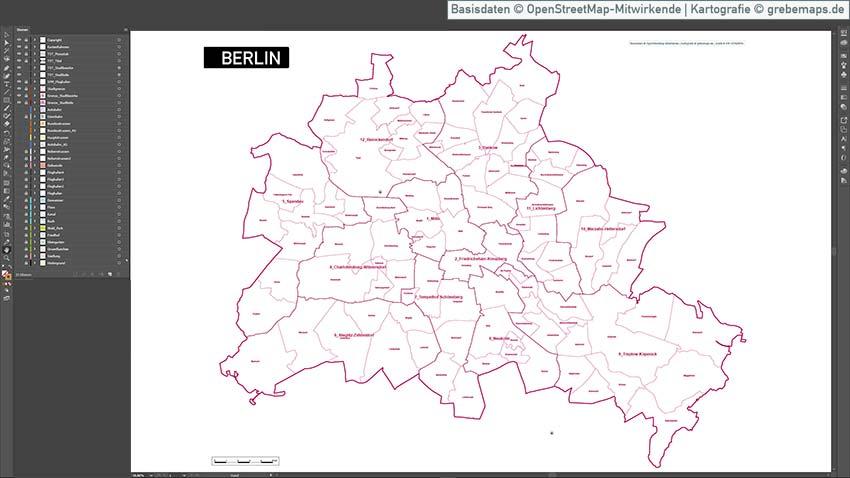 Berlin Übersichtskarte Vektor Mit Gebäuden Stadtteilen Topographie, Karte Berlin Mit Gebäuden, Vektor-Karte Berlin Stadtteile