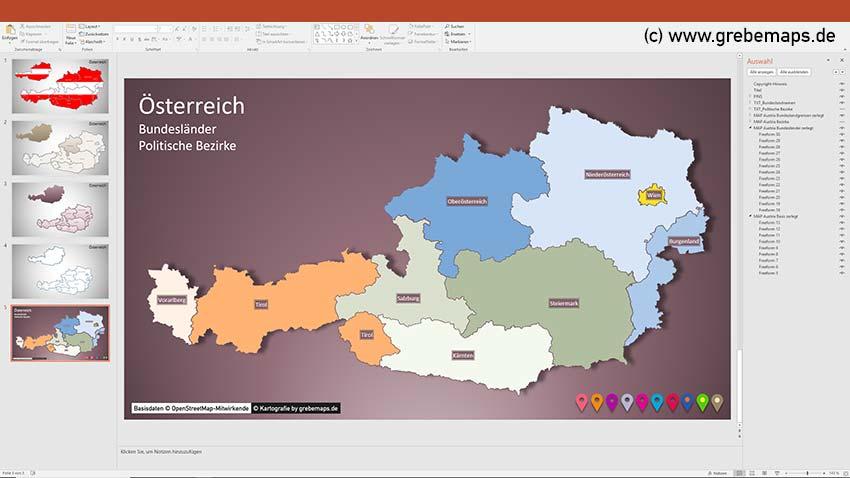 Austria Österreich PowerPoint-Karte Bundesländer Bezirke, Karte Österreich Bezirke