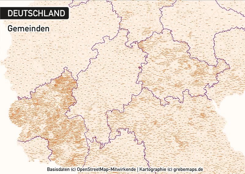 Deutschland Gemeinden Mit Gemeindenamen Vektorkarte, Karte Gemeinden Deutschland Vektor, Vektorkarte Deutschland Gemeinden, Karte Vektor Gemeinden Deutschland