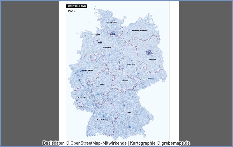 Deutschland Postleitzahlen PLZ-5 Vektorkarte 5-stellig, Karte PLZ 5-stellig Deutschland, Karte PLZ Deutschland