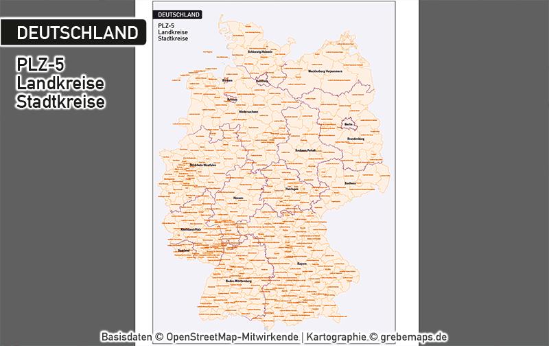 Deutschland Postleitzahlen PLZ-5 Vektorkarte 5-stellig, Karte PLZ 5-stellig Deutschland, Karte PLZ Deutschland Mit Landkreisen