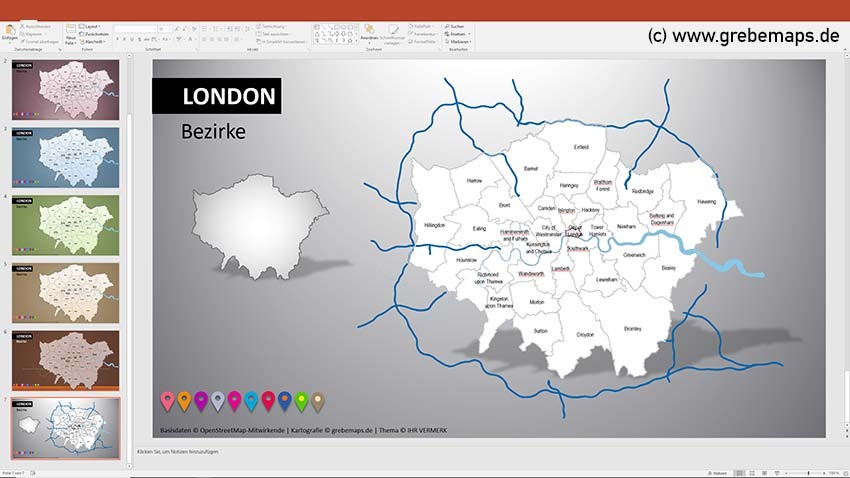 London PowerPoint-Karte Bezirke Boroughs, Vektorkarte Stadtbezirke London, London Bezirke Karte