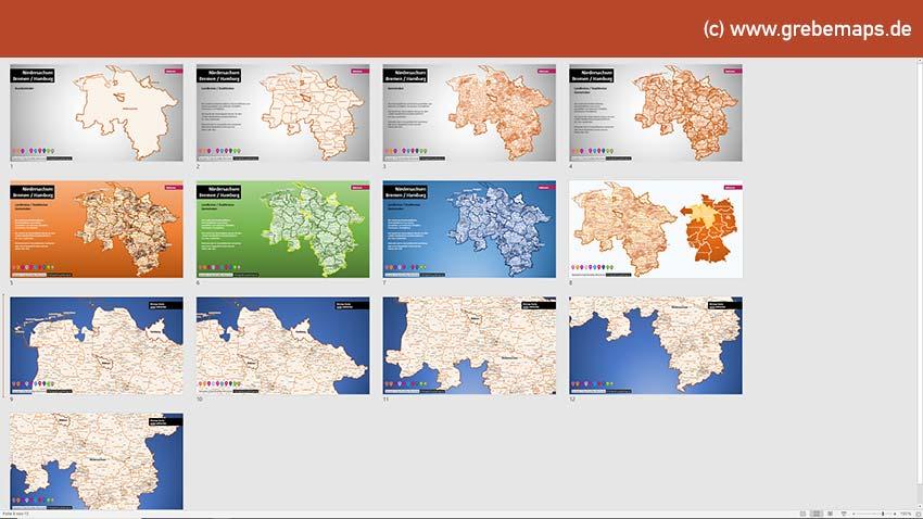 Niedersachsen Bremen Hamburg PowerPoint-Karte Landkreise Gemeinden, Karte Gemeinden Niedersachsen, Karte Landkreise Niedersachsen