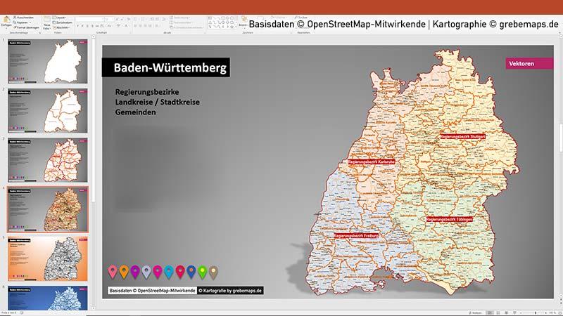 Baden-Württemberg PowerPoint-Karte Landkreise Gemeinden, Karte Gemeinden Baden-Württemberg