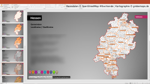Hessen PowerPoint-Karte Landkreise Gemeinden, Karte Hessen Gemeinden, Gemeinde-Karte Hessen für PowerPoint