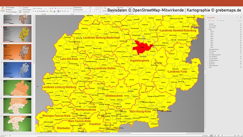 Hessen PowerPoint-Karte Landkreise Gemeinden, Karte Hessen Gemeinden, Gemeinde-Karte Hessen Für PowerPointHessen PowerPoint-Karte Landkreise Gemeinden, Karte Hessen Gemeinden, Gemeinde-Karte Hessen Für PowerPoint