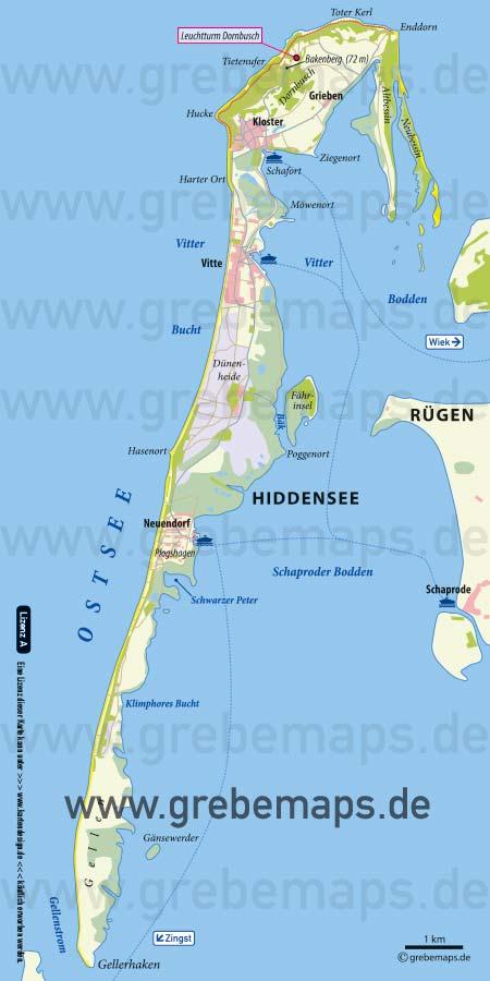 Hiddensee Übersichtskarte, Inselkarte Hiddensee, Karte Hiddensee für Print, Karte Insel Hiddensee, für Flyer, Faltblätter, Druck, Print, TIFF