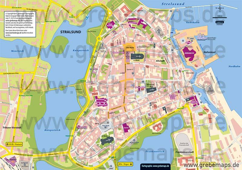 Stralsund Karte.Stadtplan Stralsund Altstadt Lizenz Xl