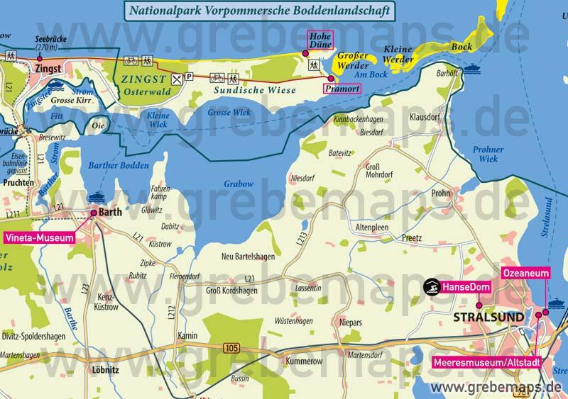 Fischland-Darß-Zingst Übersichtskarte Mit Sehenswürdigkeiten, Karte Fischland-Darß-Zingst