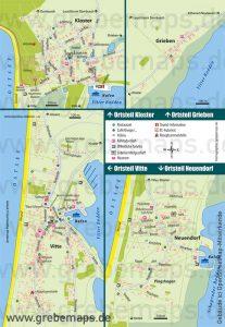 Hiddensee Ortsteile Kloster Vitte Neuendorf Infokarte, Karte Hiddensee Ortsteile