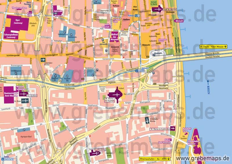 Stadtplan Köln-City, Karte Köln-City, Karte Köln Innenstadt, Ortsplan Köln-City