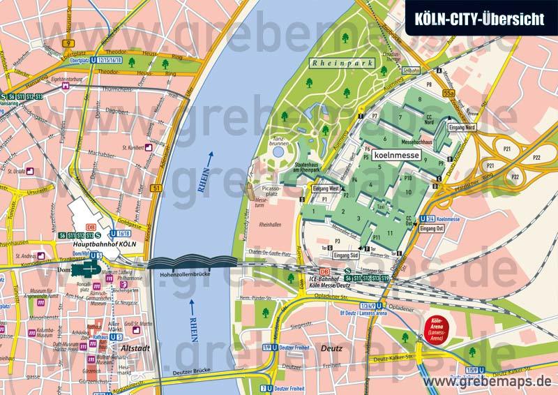 Stadtplan Köln-City-Übersicht, Karte Köln-City-Übersicht, Übersichts-Karte Köln-Innenstadt