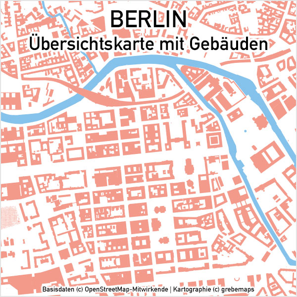 Berlin Übersichtskarte Vektor Mit Gebäuden Stadtteilen Topographie