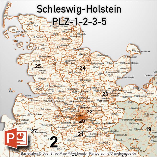 Schleswig-Holstein PowerPoint-Karte PLZ-5-3-2-1