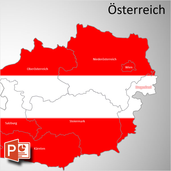 Österreich Austria PowerPoint-Karte Bundesländer