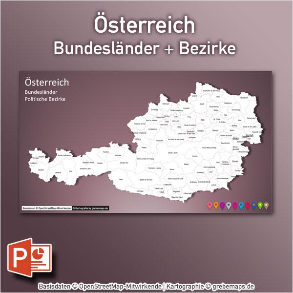 Österreich Austria PowerPoint-Karte Bundesländer Bezirke