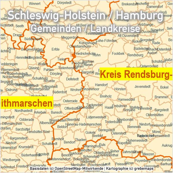 Schleswig-Holstein Hamburg PowerPoint-Karte Gemeinden Landkreise, Karte Gemeinden Schleswig-Holstein, Gemeindekarte Schleswig-Holstein