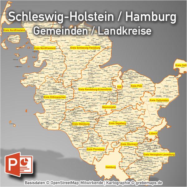 Schleswig-Holstein Hamburg PowerPoint-Karte Gemeinden Landkreise