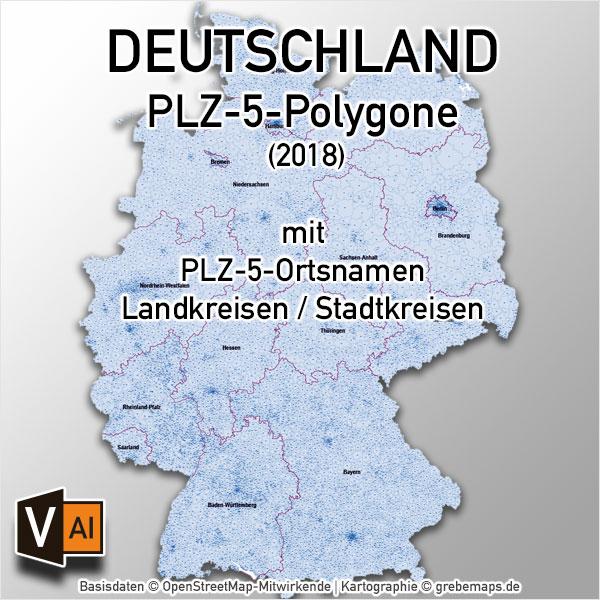 Deutschland Postleitzahlen PLZ-5 Vektorkarte 5-stellig Landkreise Ortsnamen (2018)
