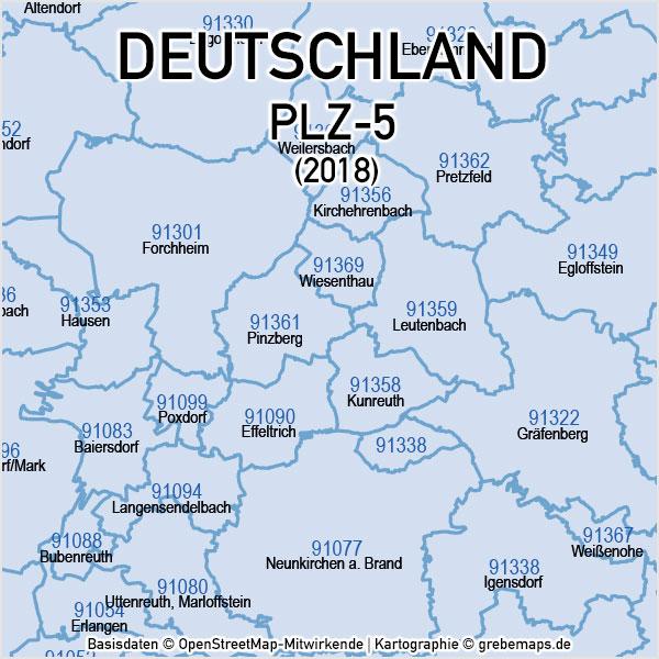 Deutschland Postleitzahlen PLZ-5 Vektorkarte 5-stellig, Karte PLZ 5-stellig Deutschland, Karte PLZ Deutschland Mit Landkreisen, PLZ-Karte Mit PLZ 5-stellig Und Ortsnamen