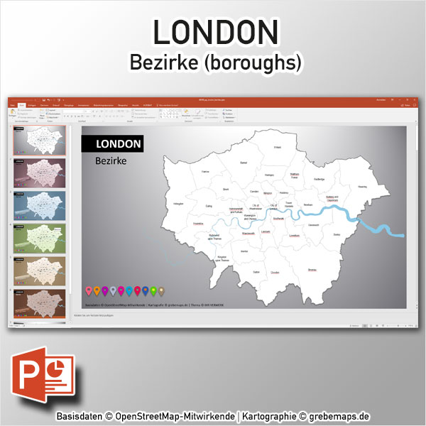 London PowerPoint-Karte Bezirke Boroughs